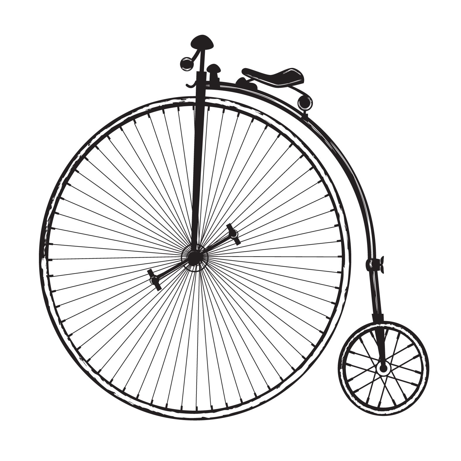 Free vintage clip art images: Vintage old fashioned bicycle.
