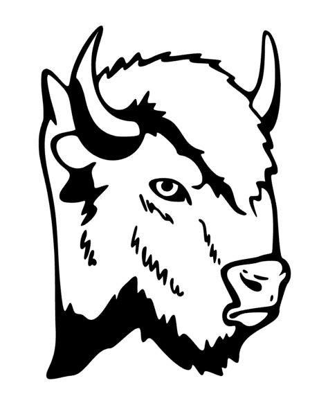 Buffalo Head 2 Silhouette Mascot Decal.