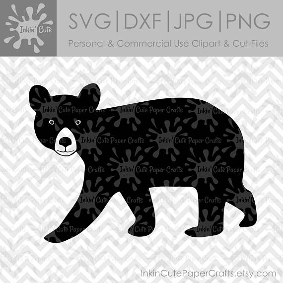 Black Bear SVG, Black Bear Clipart, Woodland SVG, Black Bear.