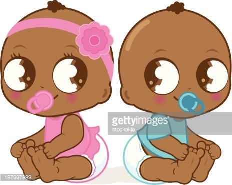 Cute African American baby girl and boy Clipart Image.