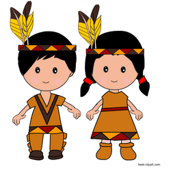 Native american boy and girl standing together.