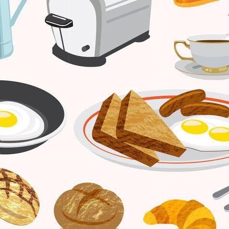 American Breakfast Brunch Food Digital Vector Clip Art.