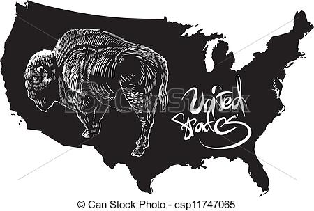Clip Art Vector of American buffalo and U.S. outline map. Black.
