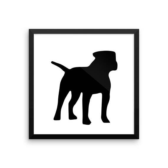 American Bulldog Silhouette Digital Download, Dog Silhouette.