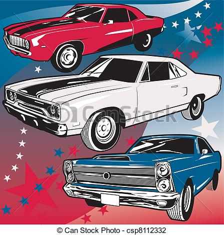 Vector Illustration of American Muscle Cars.