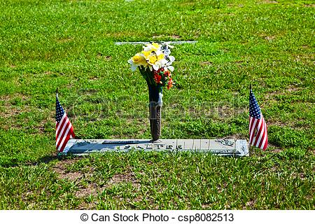 Stock Photos of american cemetery with flowers at the graves.