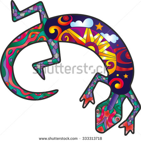 Colorful Lizard Of Native American Aboriginal Cult Stock Vector.