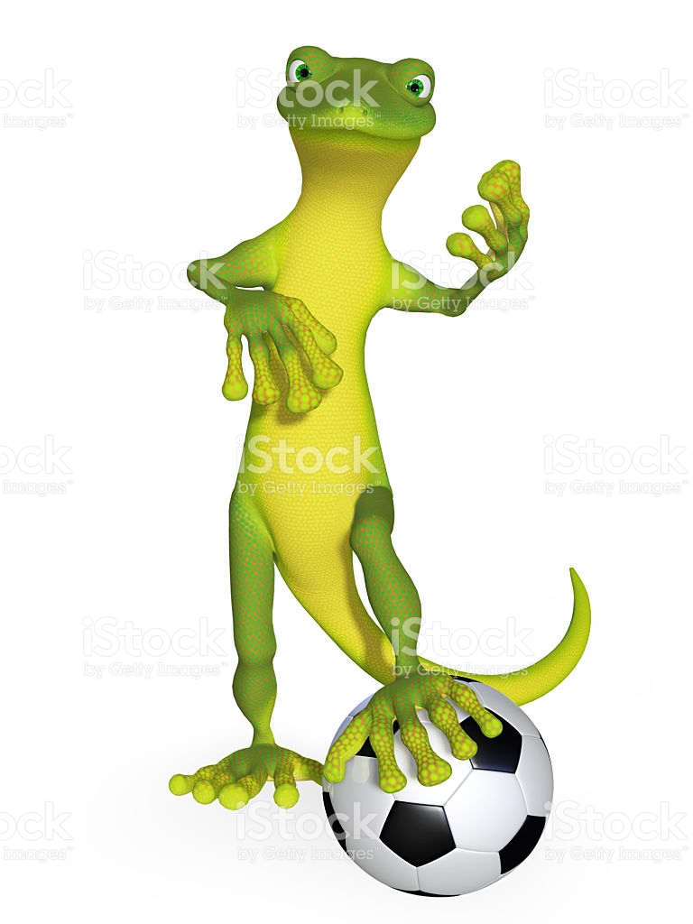 Gecko With A Football stock photo 519436145.