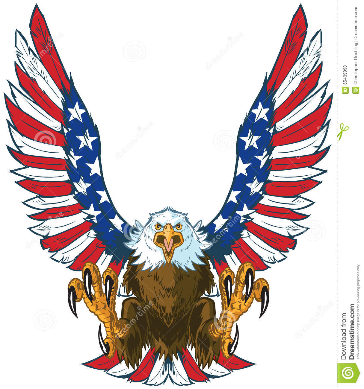 Screaming Eagle With American Flag Wings Vector Clip Art Stock.