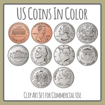 US Coins Color Cents, Pennies, Dimes, Quarters Clip Art Commercial Use.