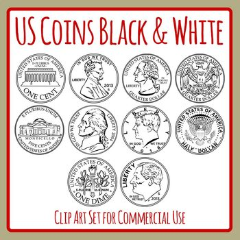 Black and White US Coins / Money Clip Art Set for Commercial Use.