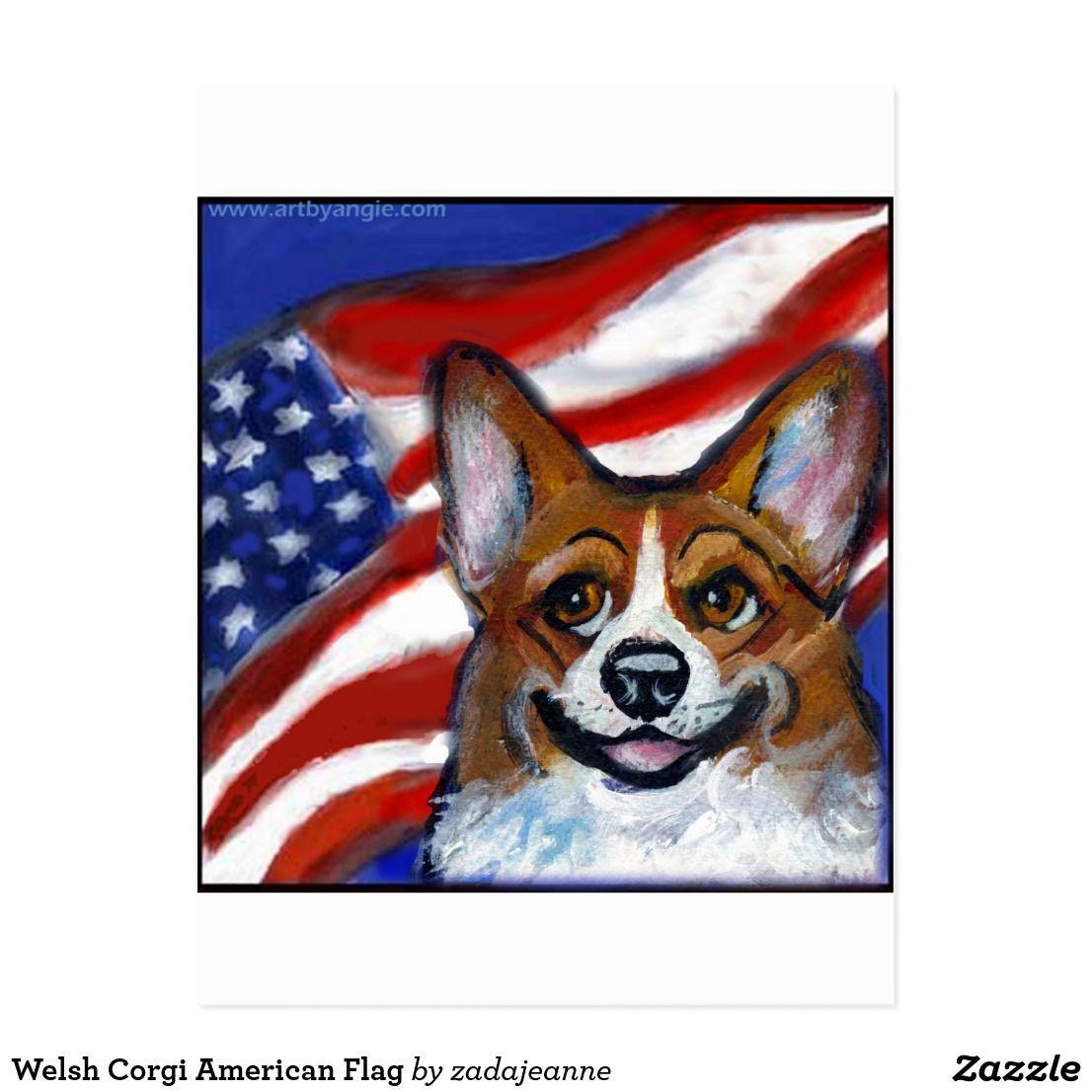 Welsh Corgi American Flag Postcard.