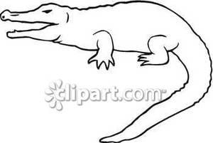 Crocodile Outline Clipart.