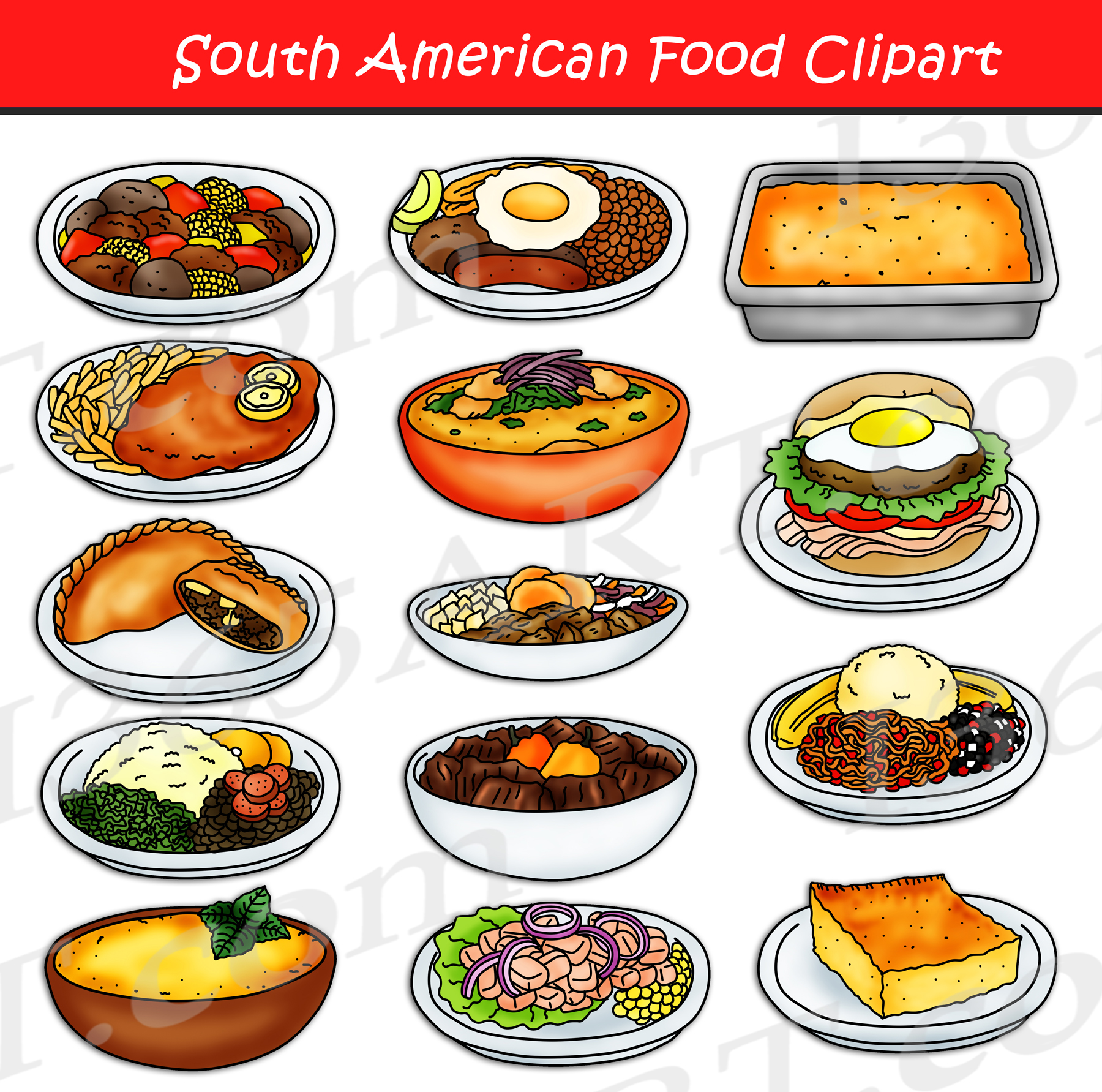 South American Food Clipart Set Download.