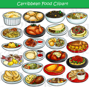 Central American & Caribbean Food Clipart.