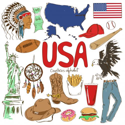 USA Culture Map Printable.
