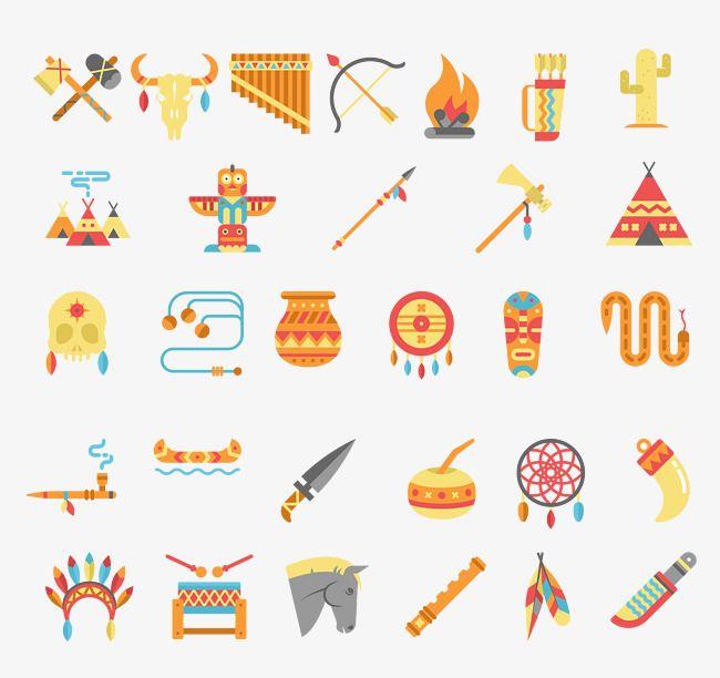 Native American Indian Cultural Elements.