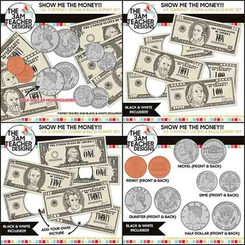 U.S. Currency : Money and Coin Digital Clip Art.