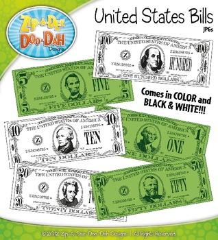 US Currency / Dollar Bills Clipart {Zip.