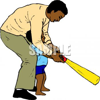 African American Dad Showing His Little Son How to Use a Bat.
