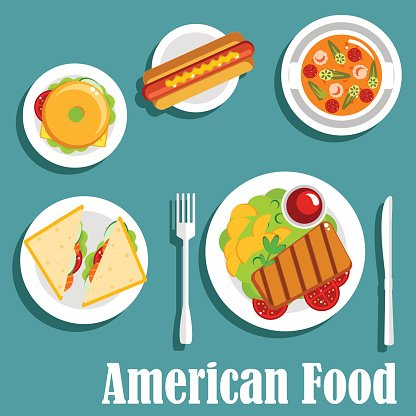 Homemade dinner of american cuisine flat icon Clipart Image.