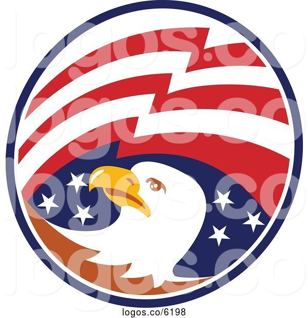 Royalty Free Clip Art Vector Logo of a Bald Eagle Head and American.