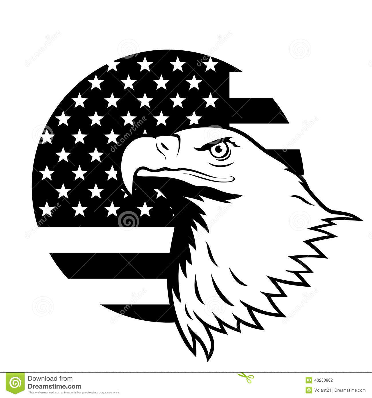 Bald Eagle American Flag Clipart.