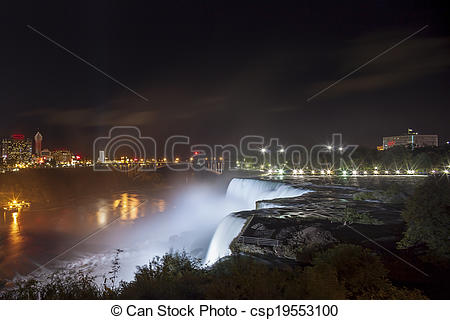 Stock Photography of American Falls and Niagara Falls City in.