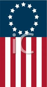 Sideways American Flag With 13 Stars Clipart Picture.