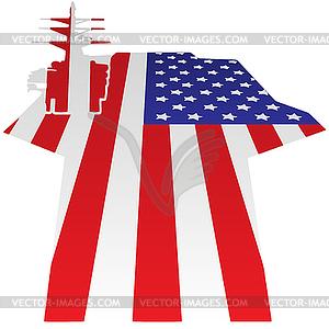 Aircraft Carrier Flight Deck American Flag Vector.