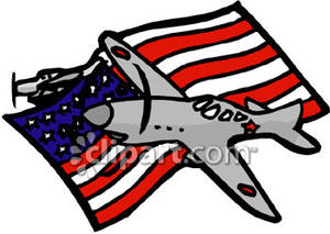 Old Airplanes with an American Flag Royalty Free Clipart Picture.