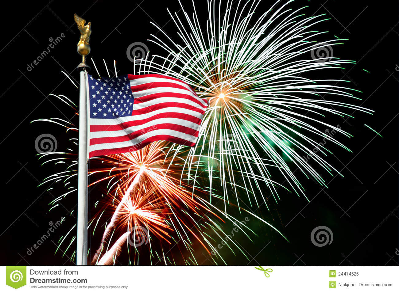 American Flag With Fireworks Clipart.