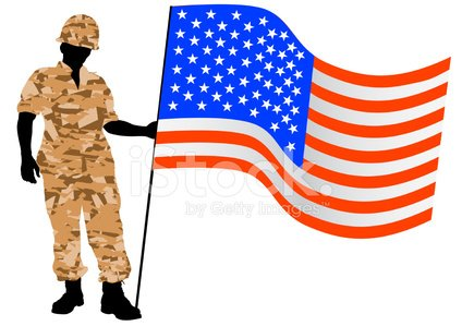 American flag and soldier Clipart Image.