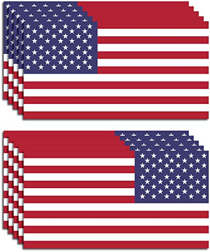 10 Pack of New USA American Flag Vinyl Decal 5 Regular 5 Reverse for Both  Sides of Your Vehicle Army Navy Military Country Stickers Car Truck 2\