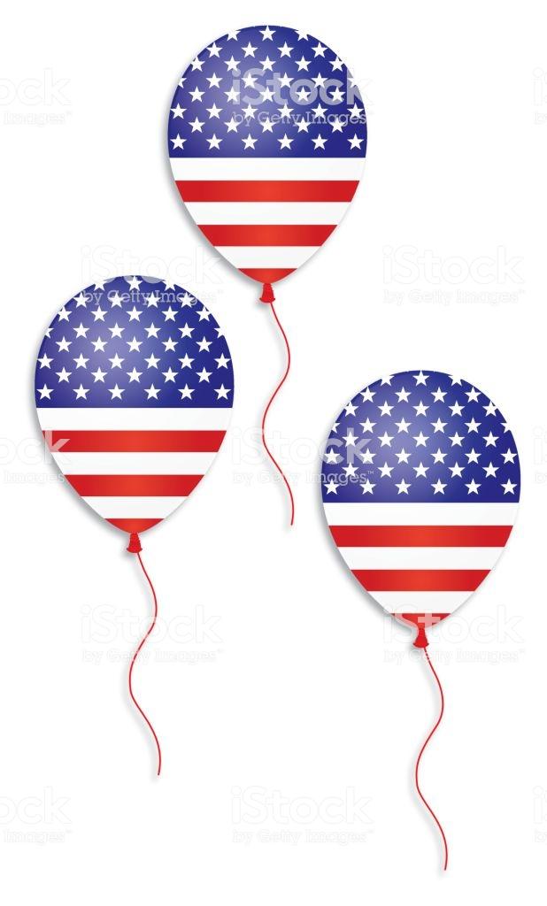 American Flag Balloons Stock Illustration.