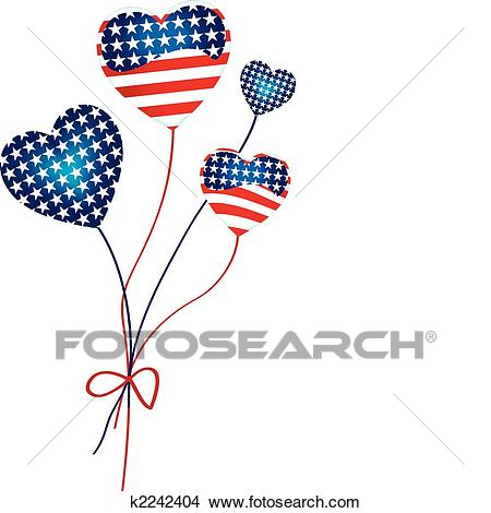 American Hearts Balloons Clipart.