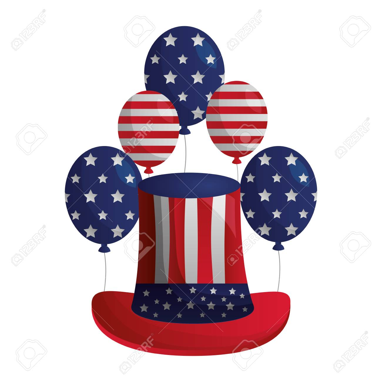 american flag balloons and hat happy presidents day vector illustration.