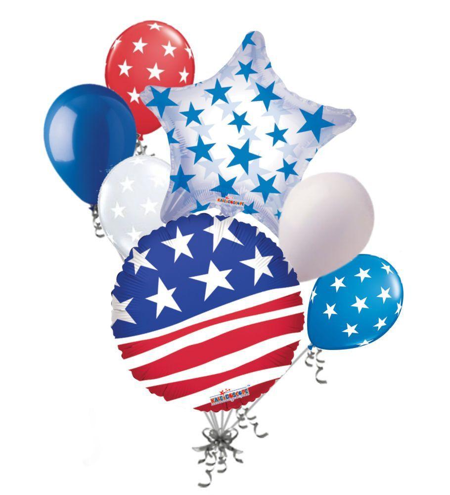 Stars & Stripes Patriotic American Flag Balloon Bouquet.