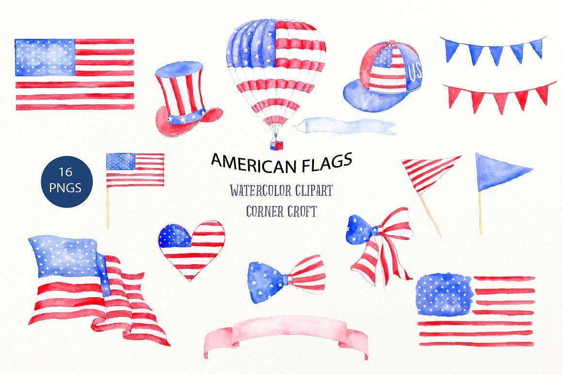 Watercolor American Flags #ribbons#buntings#flag#bow.