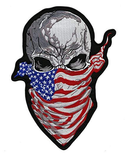 Ruthless Skull US Flag Bandana Patch.