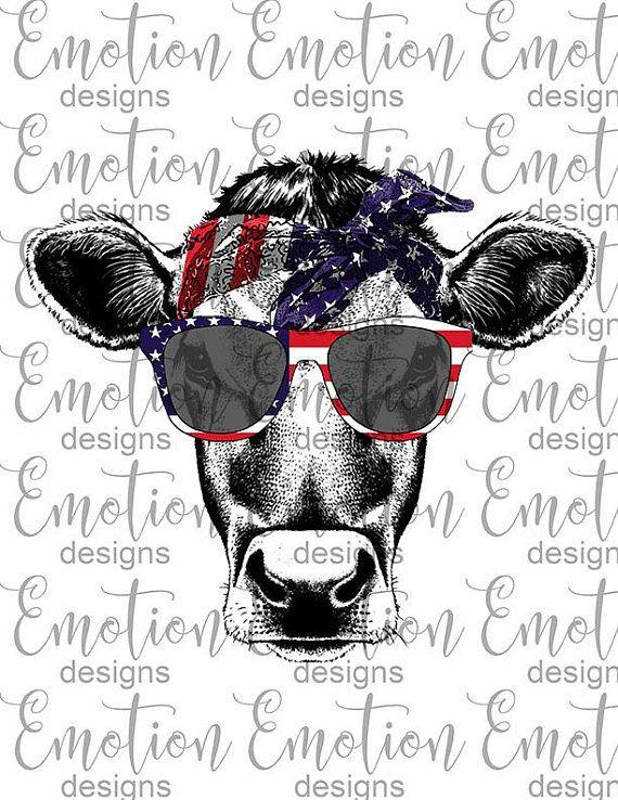 Heifer cow USA, American flag, bandana, sunglasses, PNG.