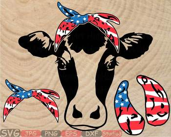 Cow USA Flag Bandana Silhouette SVG clipart American 4th July 836S.