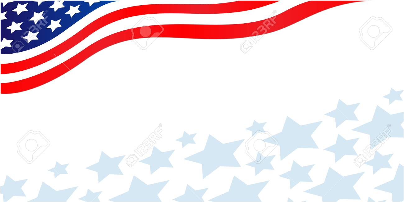 American flag banner with stars.