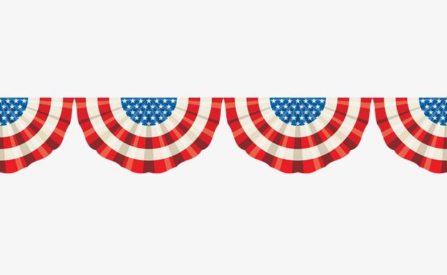 Semicircular American Flag Banner Creatives, Flag Clipart, Banner.