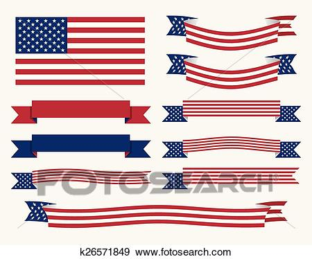 American flag, ribbon and banner Clip Art.