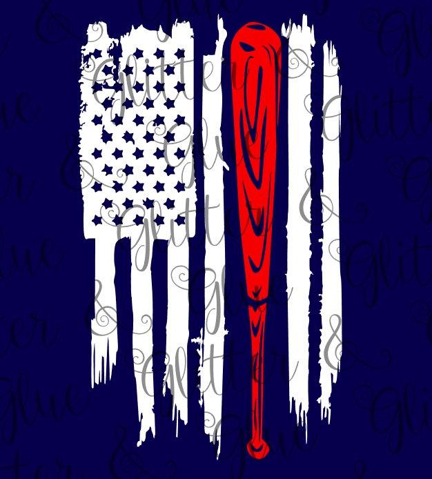 Baseball Bat Flag Clipart.