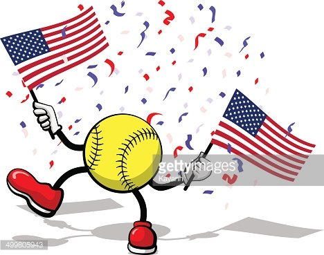 4th of July Celebration USA Softball Clipart Image.