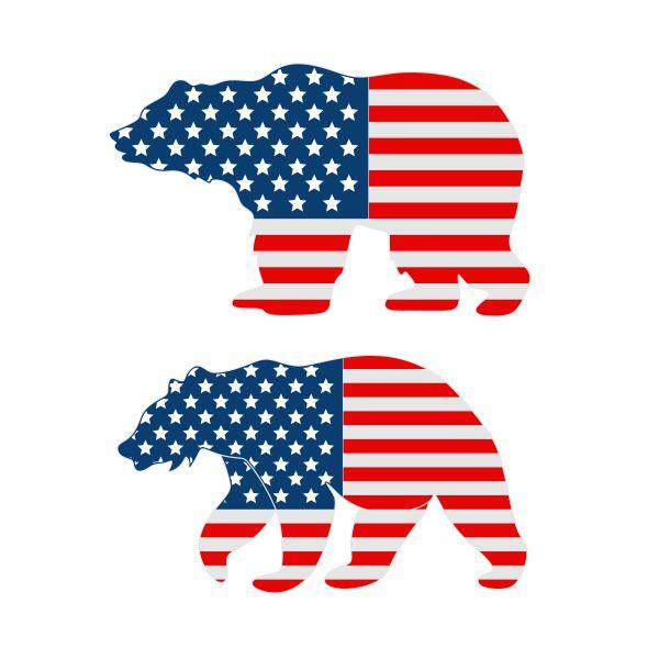 USA Flag Bear Cuttable Design.