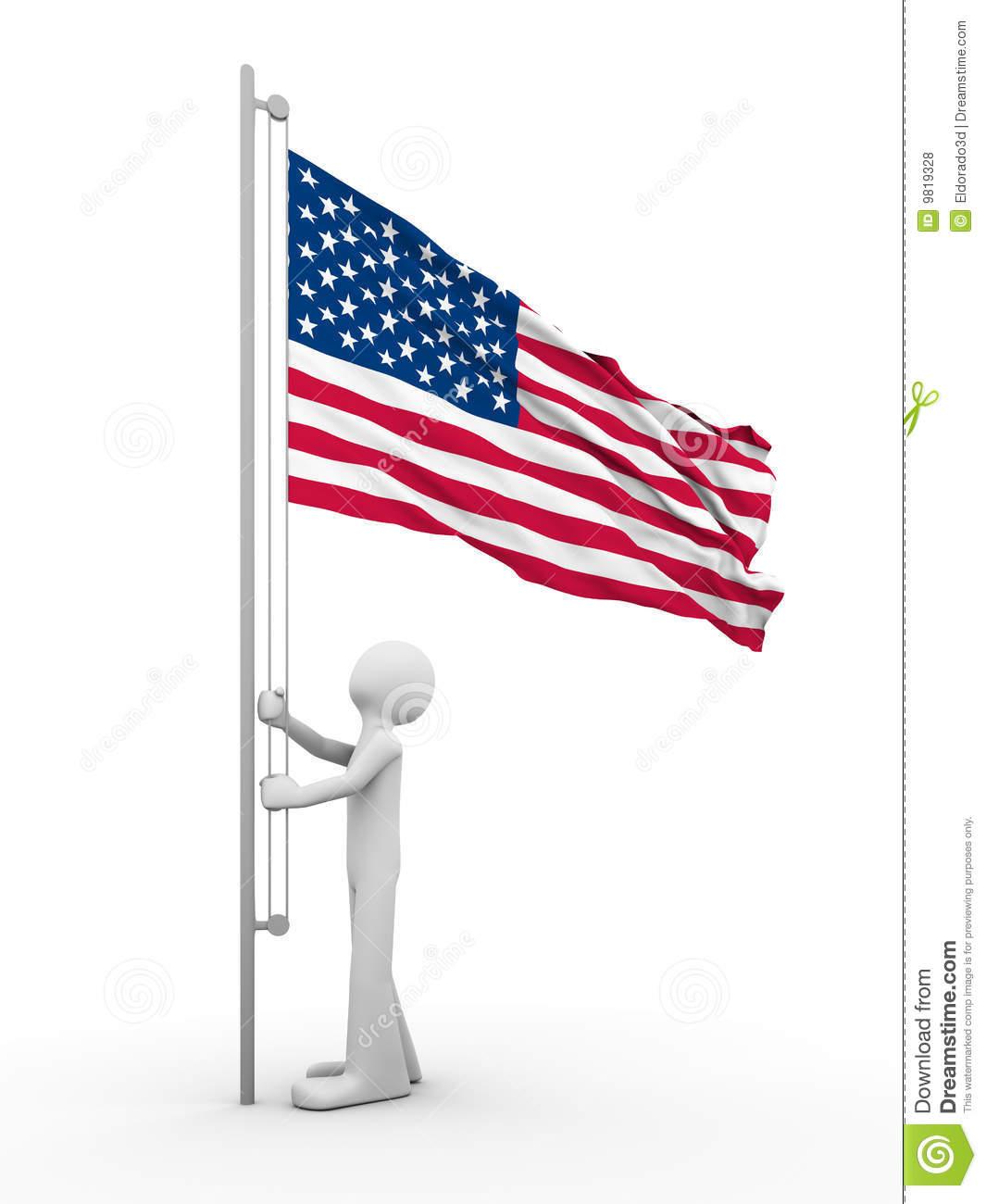 Raising Flag Clipart.