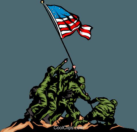 Raising the flag Royalty Free Vector Clip Art illustration.